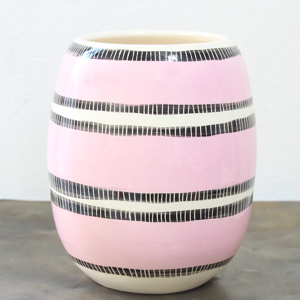Stitched Up Vase - Black & Dusty Pink