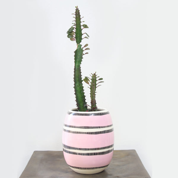 Stitched Up Vase // Planter - Dusty Pink