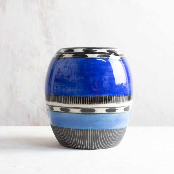 Blue Haze Vase - Black, Electric Blue & Sky Blue