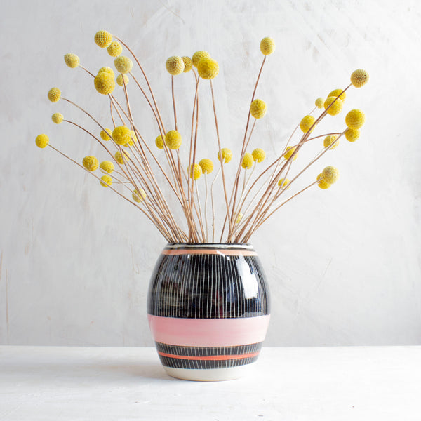 Stripey Liquorice All Sorts Vase - Black, Dusty Pink, Indian Red & Nasturtium