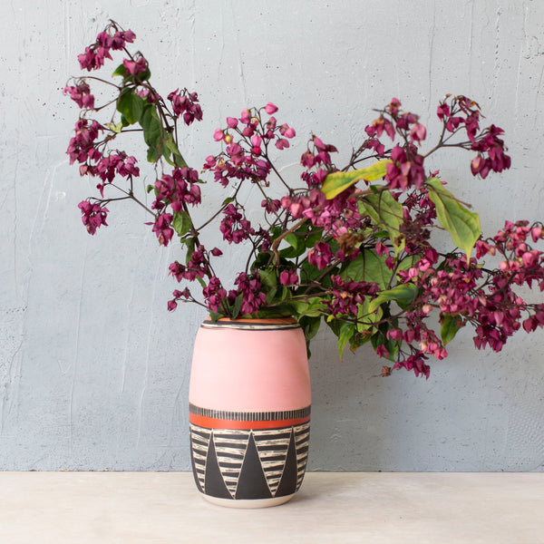 Textured Liquorice All Sorts Vase - Black, Dusty Pink, Nasturtium & Indian Red