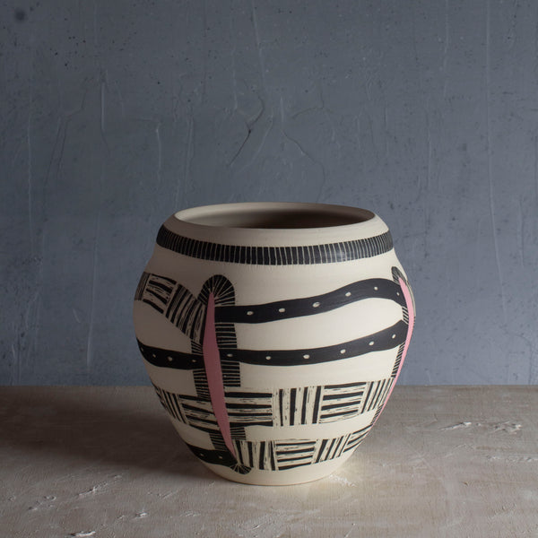 This Way That Way - Textured Vase - Black & Dusty Pink