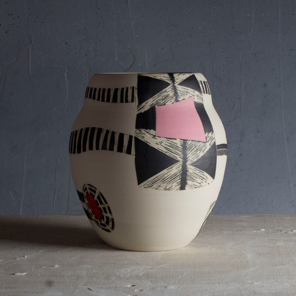 Through the Window - Textured Vase - Black, Indian Red & Dusty Pink