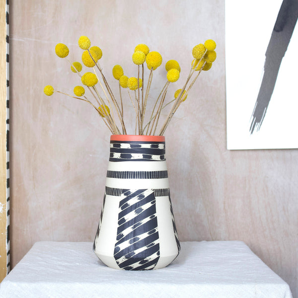 Textured Tracks Vase - Black & Flame