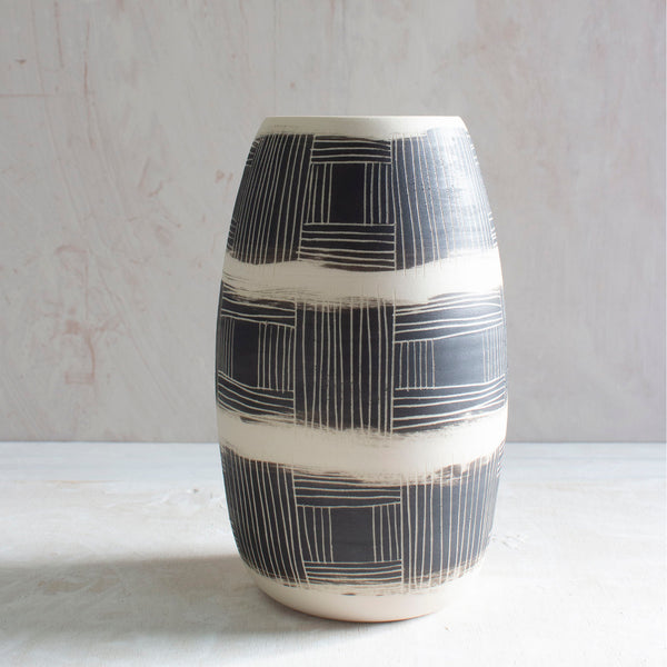 Textured Linear Stripe Tall Vase - Black