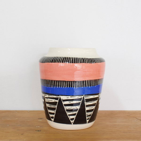 Tri Burst Vase - Black, Watermelon & Electric Blue