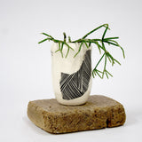 Linear Brush Little Vase - Black & White