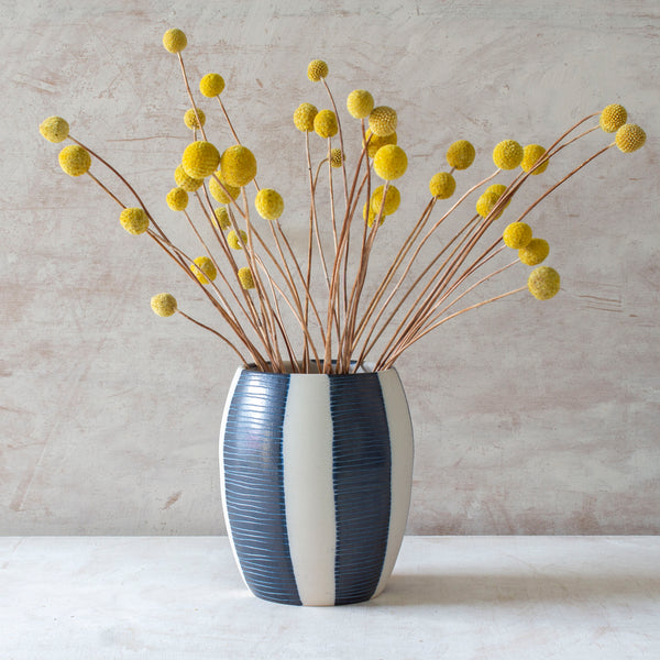 Stripe Blue Steel - Med Vase