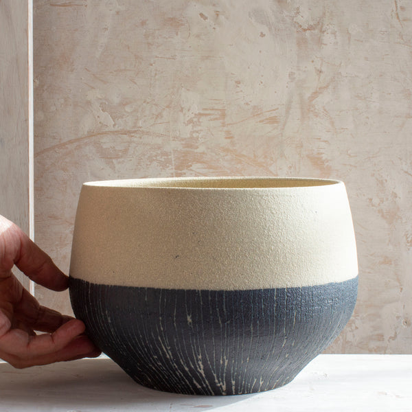 Half Stripe Blue Steel - Vessel // Planter