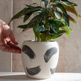 Linear Brush Med Vase // Planter - Black