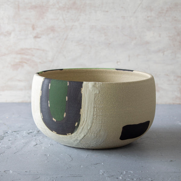 Moss Pathways Bowl - Black, Moss and Forest Green