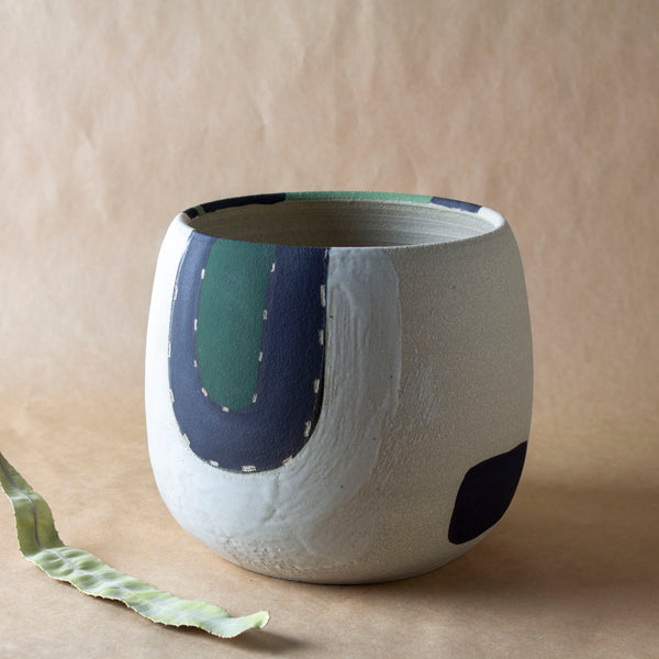 Moss Pathways vessel - Black, Moss and Forest Green