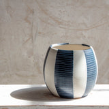 Stripe Blue Steel - Orb Vessel // Vase