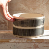 Textured Linear Stripe Low Vessel // Planter - Black