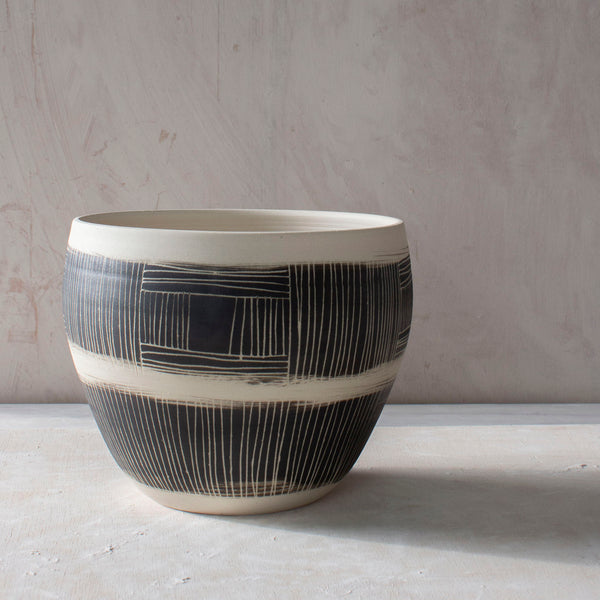Textured Linear Stripe Vessel // Planter - Black