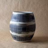 Textured Linear Stripe Vase//Vessel - Black