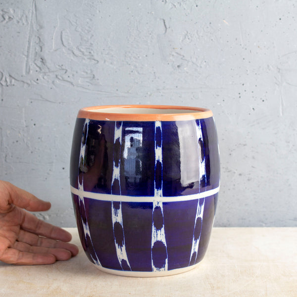 Vertical Tracks Rounded Vessel - Indigo & Nasturtium