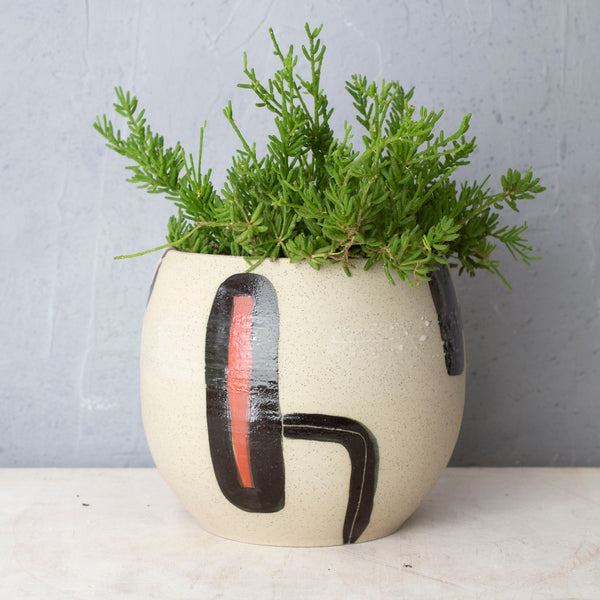 Textured Walking In Circles Rounded Vessel // Planter