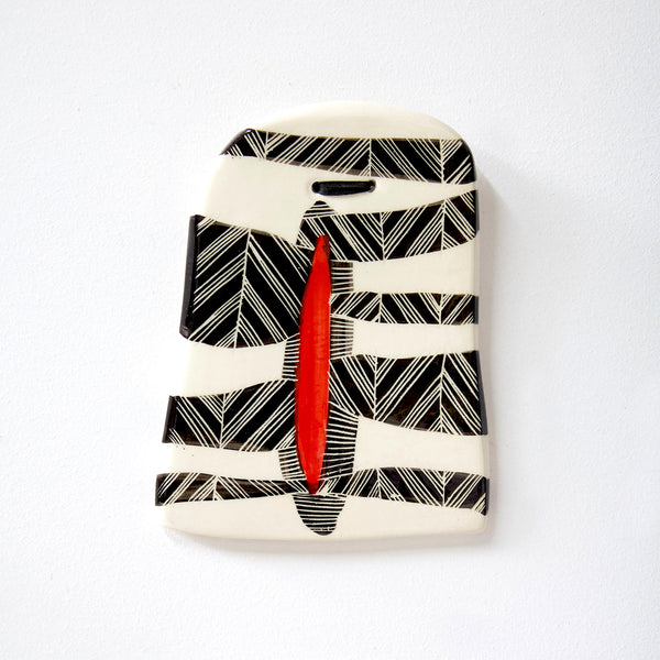 Chevron Stripe Wall Piece - BW & Indian Red