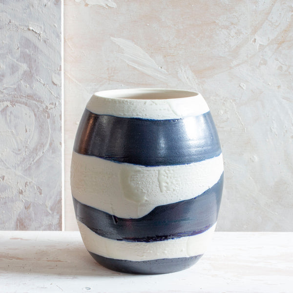 Slip Brushstroke Wave Vase - Blue Steel