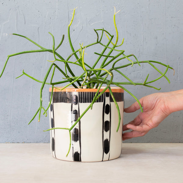 Ikat Stripe XL Planter - Black & Nasturtium
