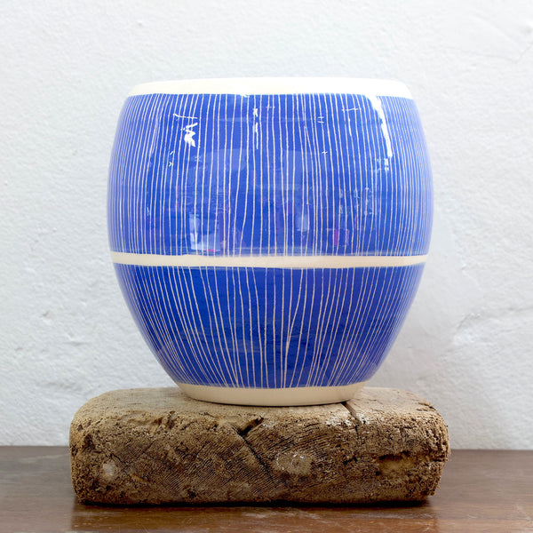 Stripey Road Orb Vessel - Electric Blue