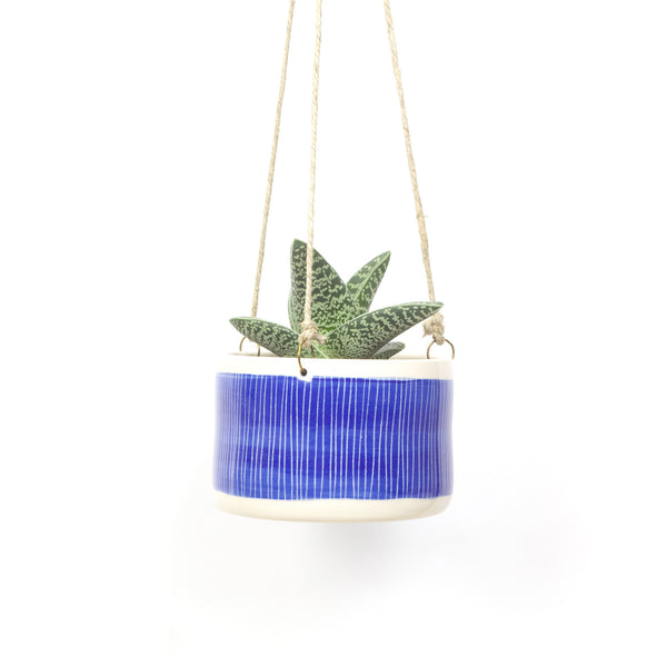 Stripey Road Large Hanging Planter - Electric Blue