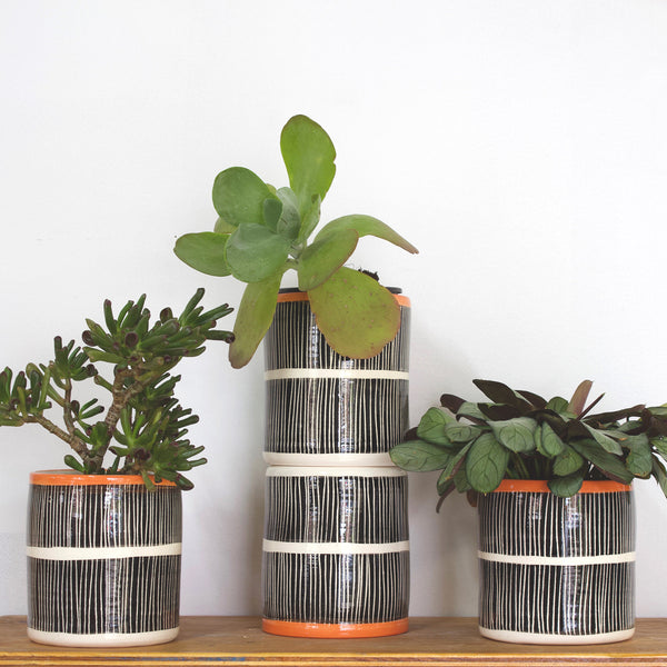 Stripey Road Medium Planter - Black & Nasturtium