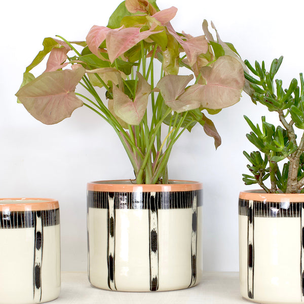 Striped Ikat Jumbo Planter L - Black & Nasturtium