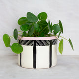 Crosshatch Planter - Black & Dusty Pink