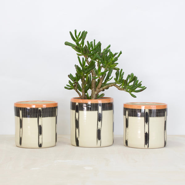 Striped Ikat Medium Planter - Black & Nasturtium