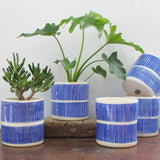 Stripey Road Tall Planter - Electric blue