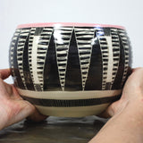Striped Teeth Ceramic Vessel- Dusty Pink