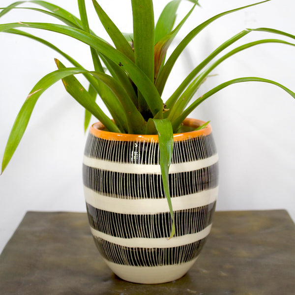 Stripey Road Large Vase - Black & Nasturtium