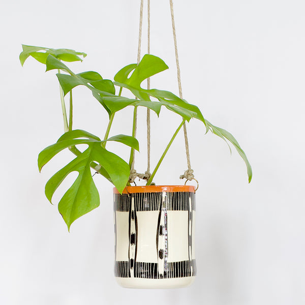 Striped Ikat tall Hanging Planter - BW & Nasturtium