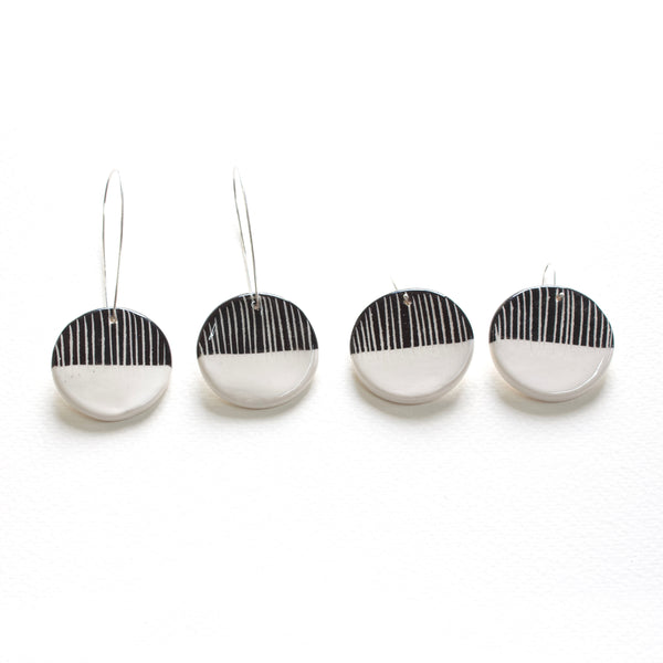 Half Moon Medium Drop Earrings - BW