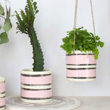 Stitched Up Planter - Black & Dusty Pink