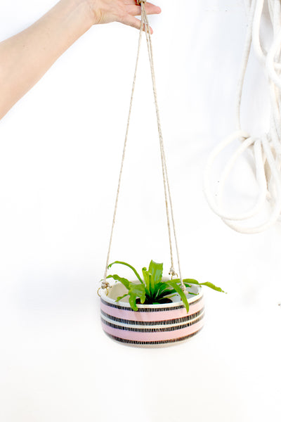 Stitched Up Large Hanging Planter - Dusty Pink