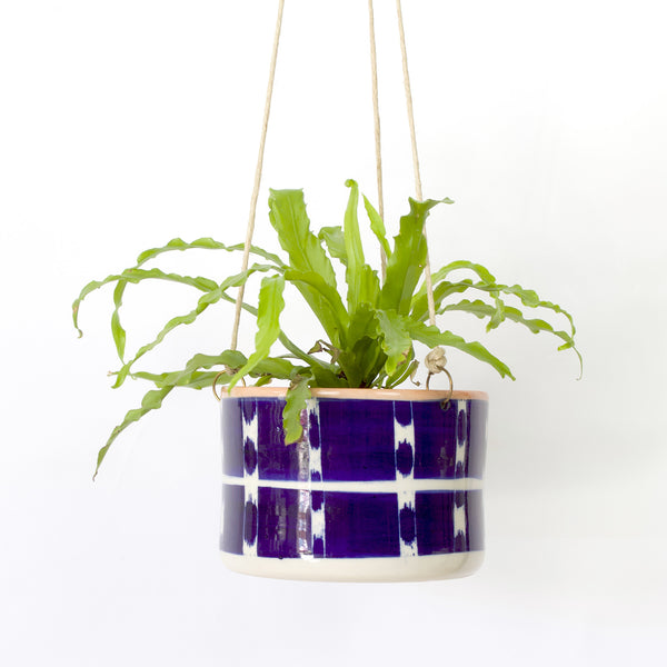 Vertical Tracks Large Hanging Planter - Indigo & Nasturtium