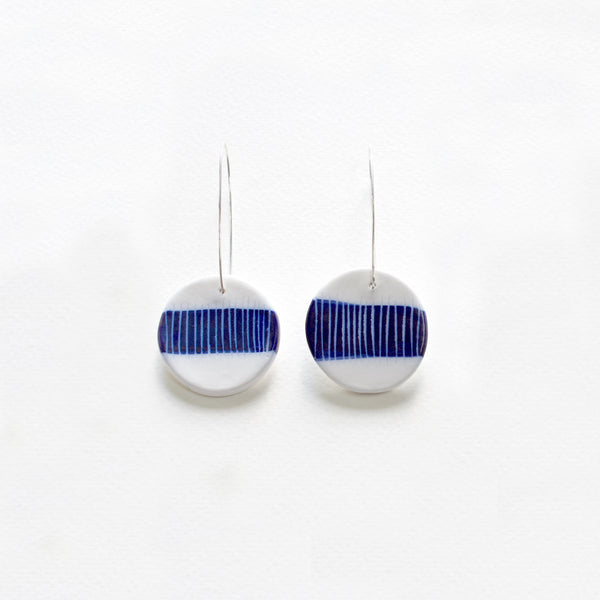 Stripey Band Medium Drop Earrings - Indigo