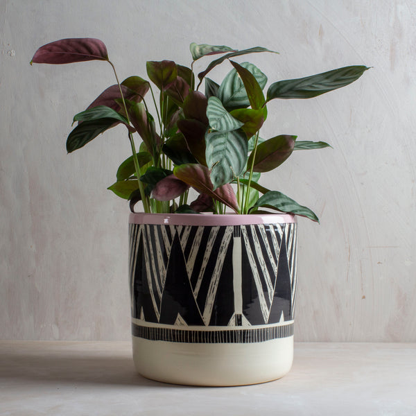 Oblique #2 XXL Jumbo Planter - Black & Dusty Pink