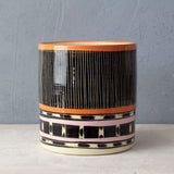 Stripey Road Sunset XL Planter - Black, Nasturtium & Dusty Pink