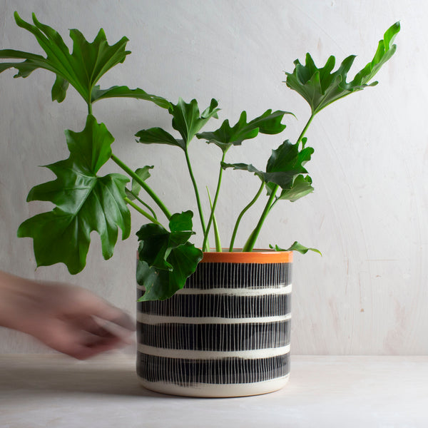 Stripey Road  XL Jumbo Planter - Black & Nasturtium