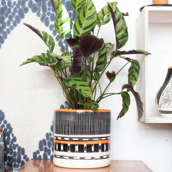Stripey Road Sunset XL Jumbo Planter - Black, Nasturtium & Dusty Pink