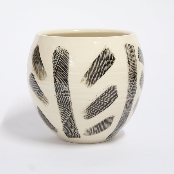 Brushed Crosshatch Ceramic Vessel