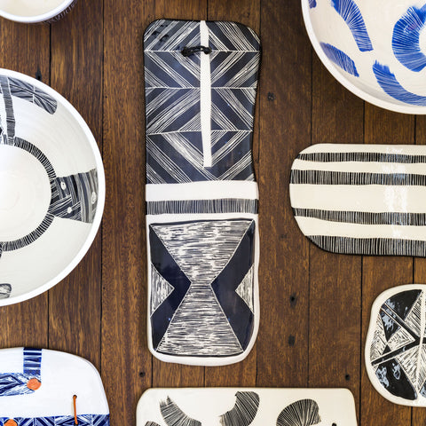 Stripey Crosshatch Ceramic Wall Piece // Platter