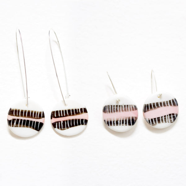 Double Stripe Little Drop Earrings - Black & Dusty Pink