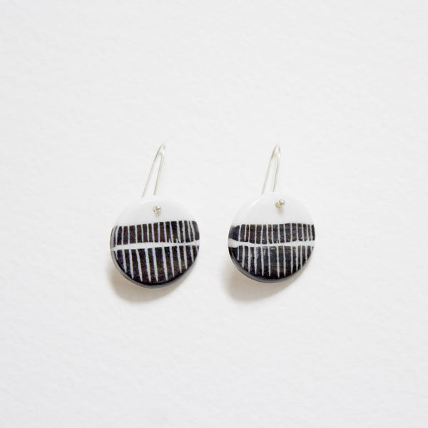 Stripey Road Little Drop Earrings - Black