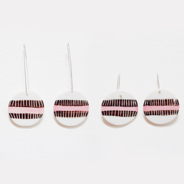 Double Stripe Medium Drop Earrings - Black & Dusty Pink