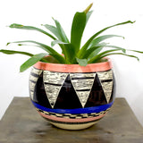 Triangular Ikat Large Bowl - Black, Watermelon, Dusty Pink & Electric Blue